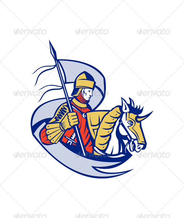 Knight with Flag Shield Horse Retro - People Characters