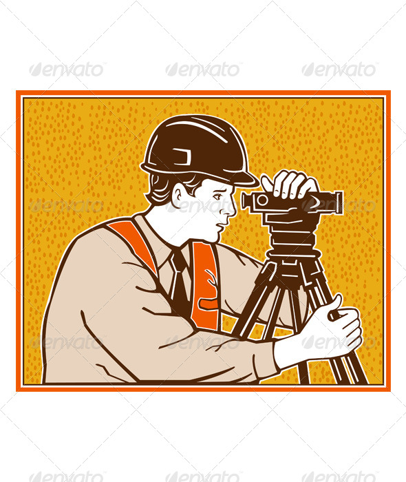 Surveyor Geodetic Civil Engineer Retro - People Characters