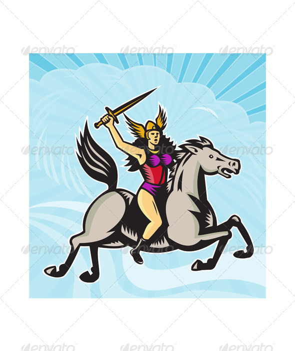 Valkyrie Amazon Warrior Riding Horse - People Characters