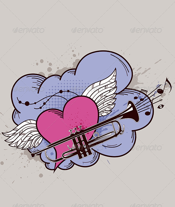 Heart with Wings and Trumpet - Abstract Conceptual