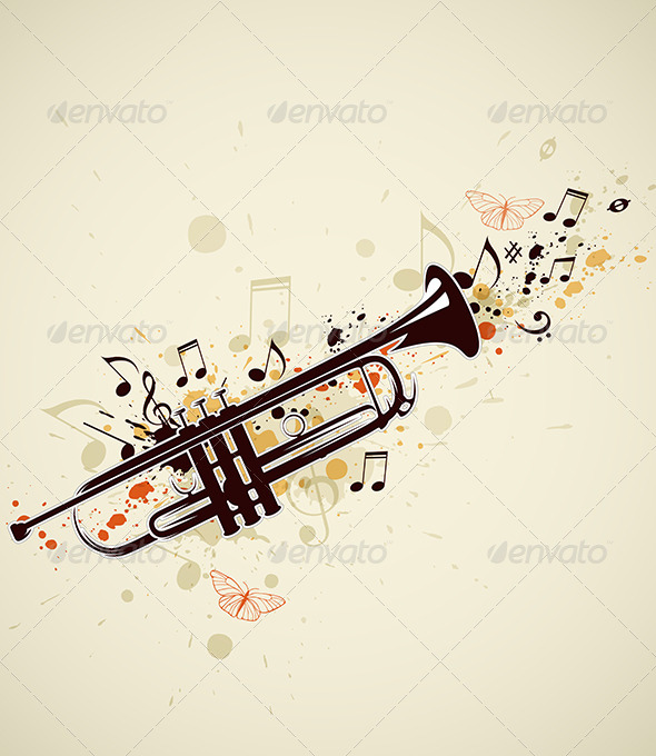Abstract Trumpet and Notes - Miscellaneous Vectors