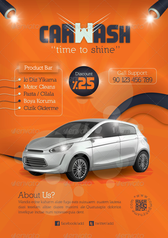 Car Wash Flyer Template By Grafilker  Graphicriver