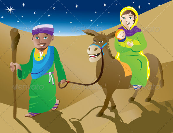 Mary Joseph and Baby Jesus Leaving Bethlehem - People Characters