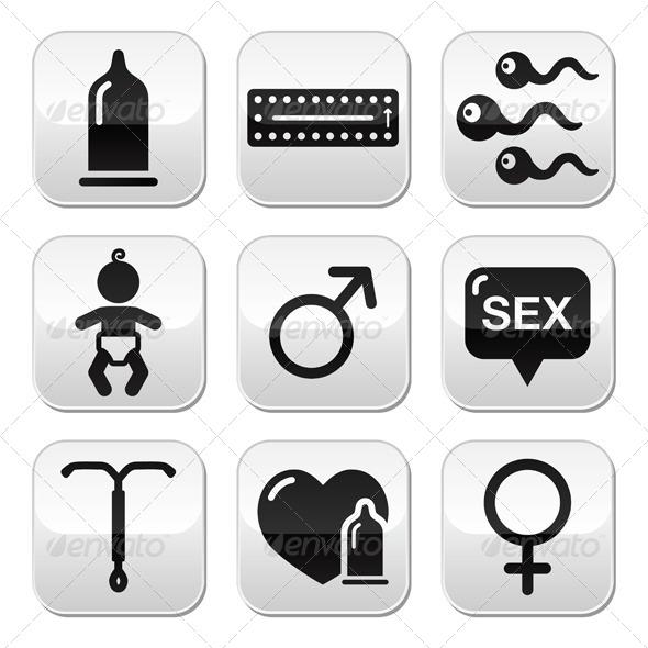 Contraception Method Icons - Health/Medicine Conceptual