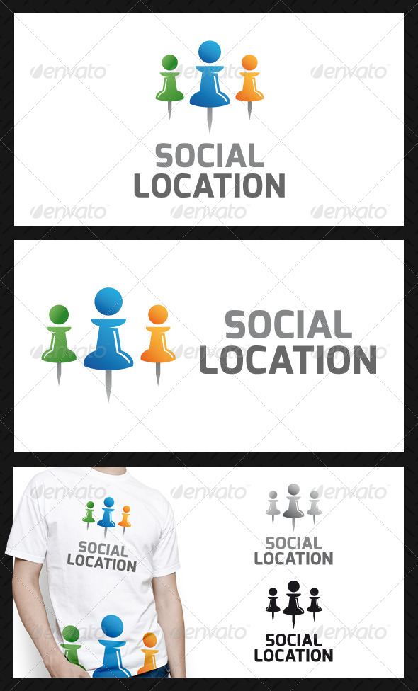 Social Location Pin Logo Template - Humans Logo Templates