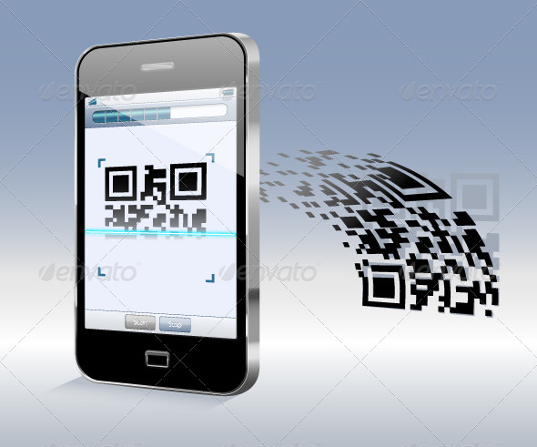 Smartphone Scanning QR Code - Technology Conceptual