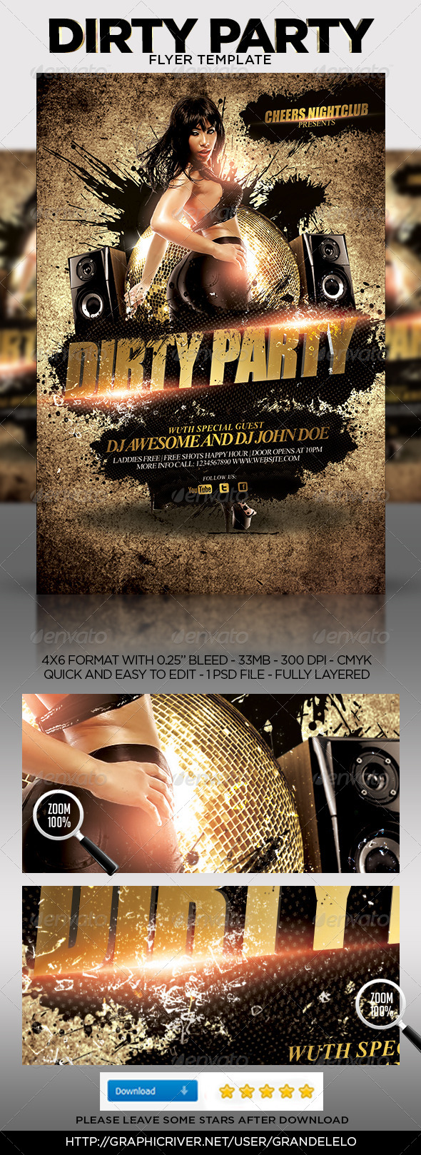 Dirty Party Flyer Template - Clubs & Parties Events