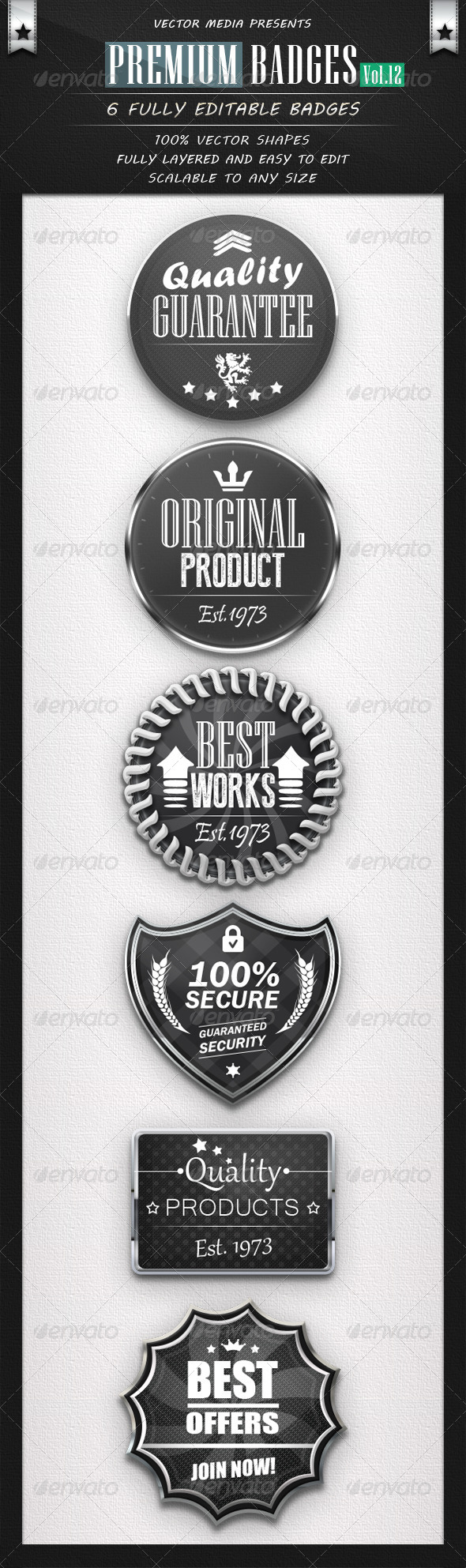 Premium Badges - Vol.12 - Badges & Stickers Web Elements