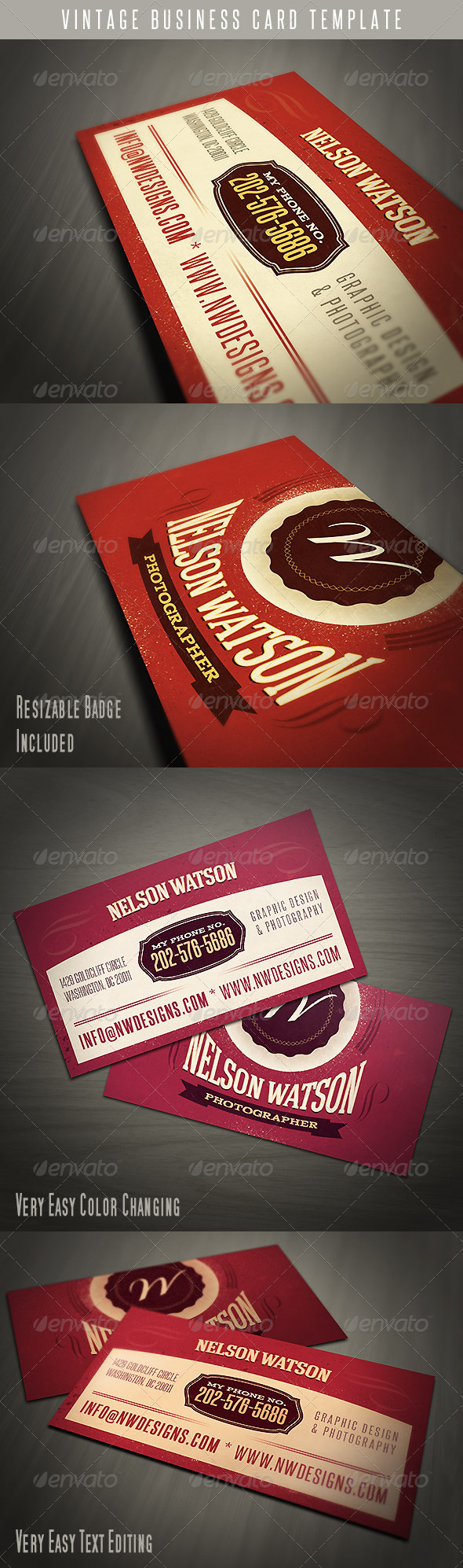 Vintage Business Card Template - Retro/Vintage Business Cards