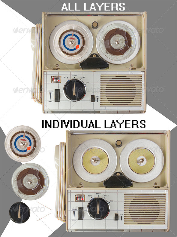 Old Portable Mini Tape Recorder Parts - Technology Isolated Objects