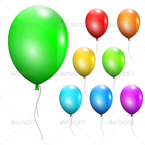 Set of Multicolored Balloons - Birthdays Seasons/Holidays