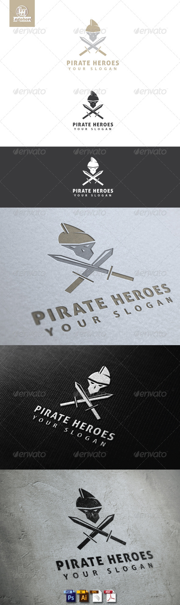 Pirate Heroes Logo Template - Humans Logo Templates
