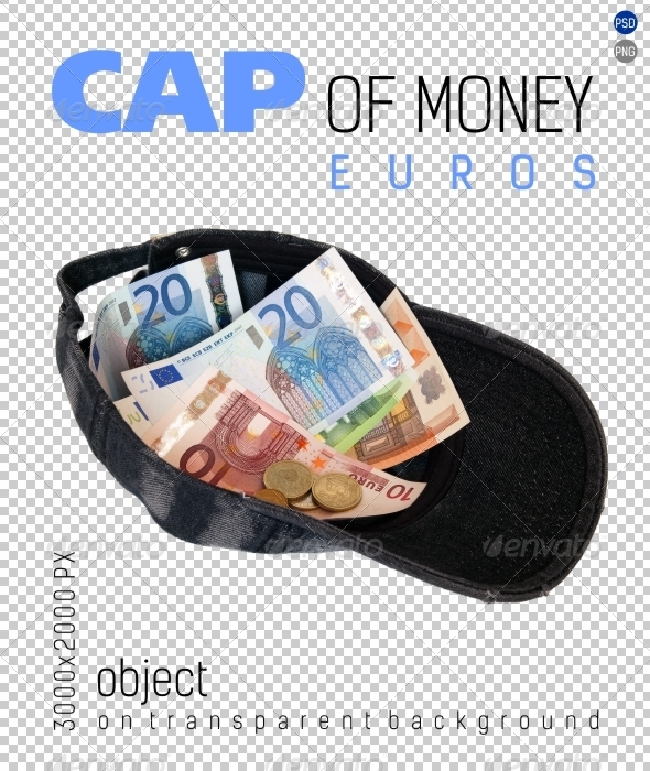 Cap of Money (Euros) on Transparent Backgrounds - Isolated Objects