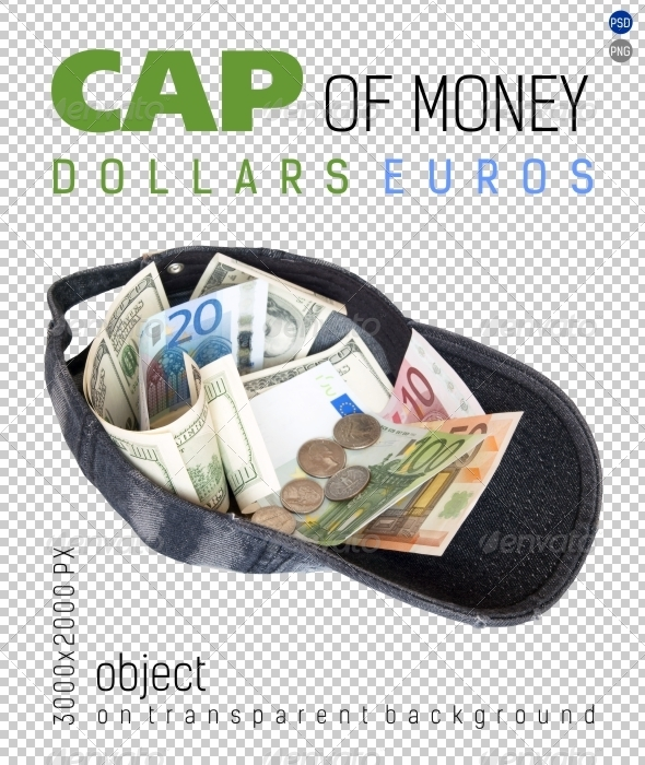 Cap of Money (Dollars and Euros) on Transparent  - Isolated Objects