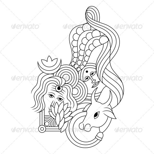 Hindu Lord Shiv-Parvati Religious Vector Design - Religion Conceptual
