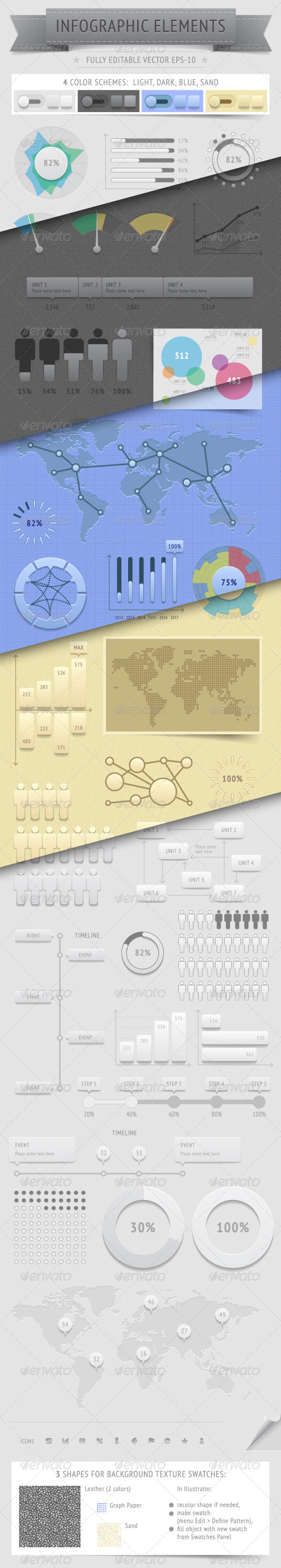 Infographics Design Elements: 4 Color Schemes - Infographics