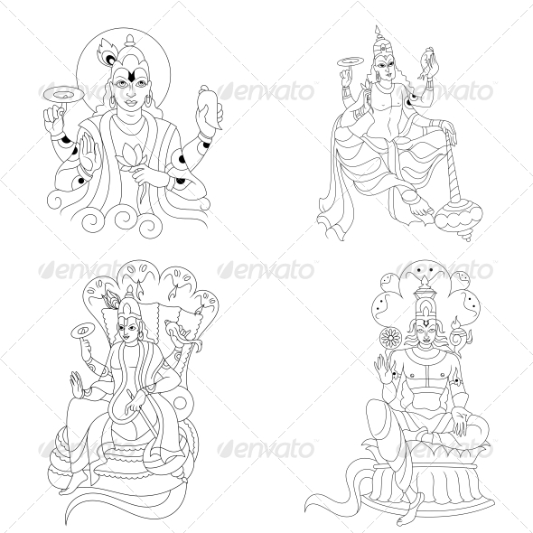 Hindu Lord Vishnu Religious Vector Designs Pack - Religion Conceptual