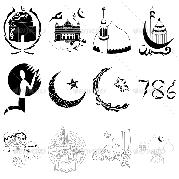 Islamic Religious Signs - Vector Designs Pack - Religion Conceptual
