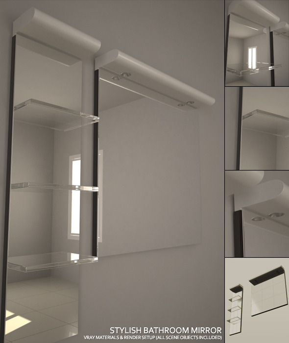 Stylish Bathroom Mirror Set + Complete Vray Setup - 3DOcean Item for Sale