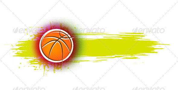 Grunge Basketball Banner Illustration - Sports/Activity Conceptual