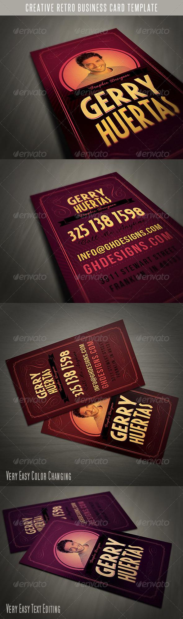 Creative Retro Business Card - Retro/Vintage Business Cards