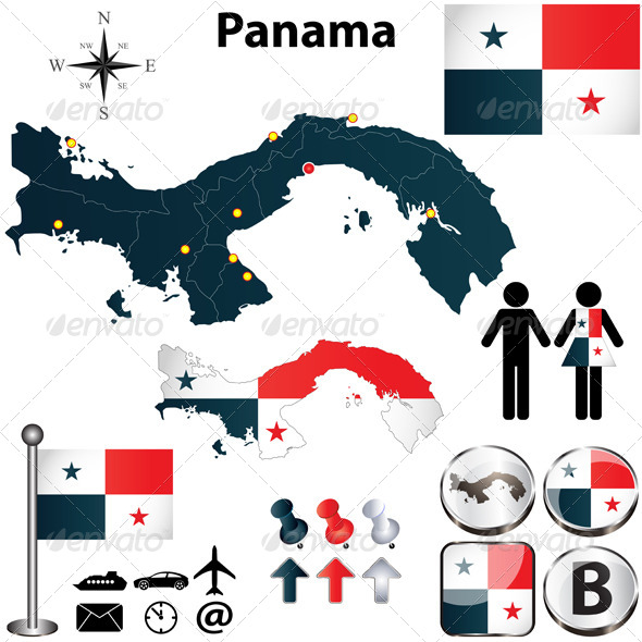 Map of Panama - Travel Conceptual