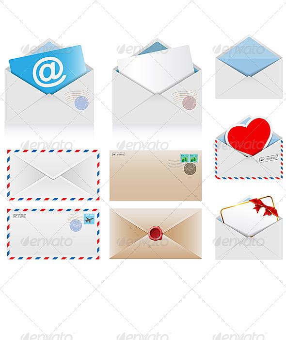 Set of Postal Envelopes - Communications Technology