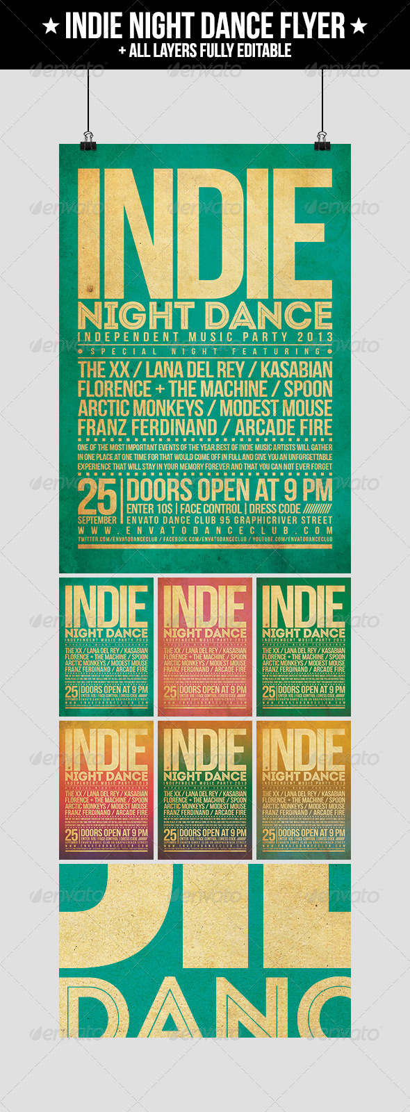 Indie Night Dance Flyer - Concerts Events