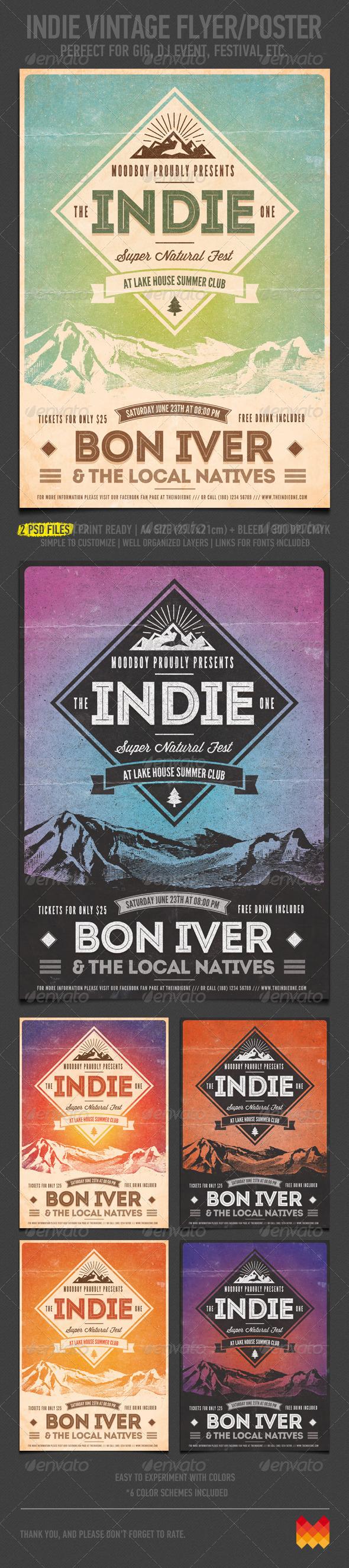 Indie Vintage Flyer/Poster - Concerts Events