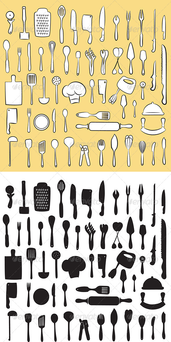 Kitchen Utensil Set Vector - Man-made Objects Objects