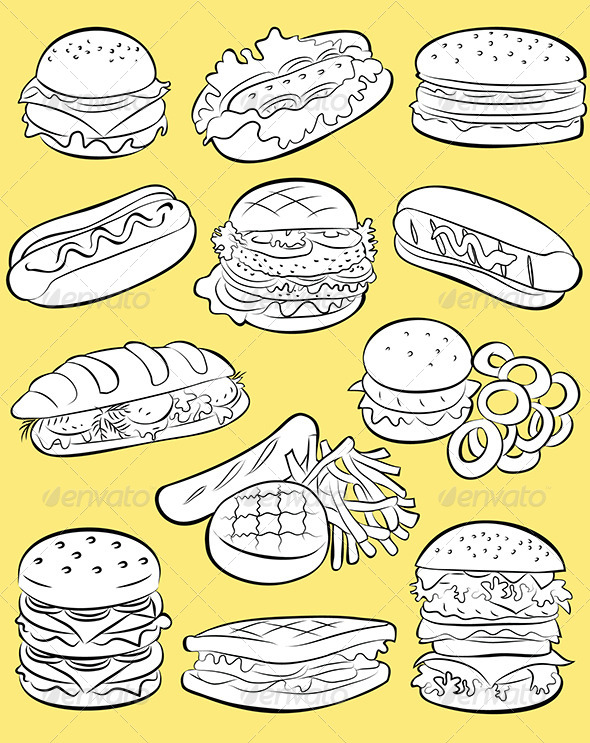 Hamburgers Vector - Food Objects