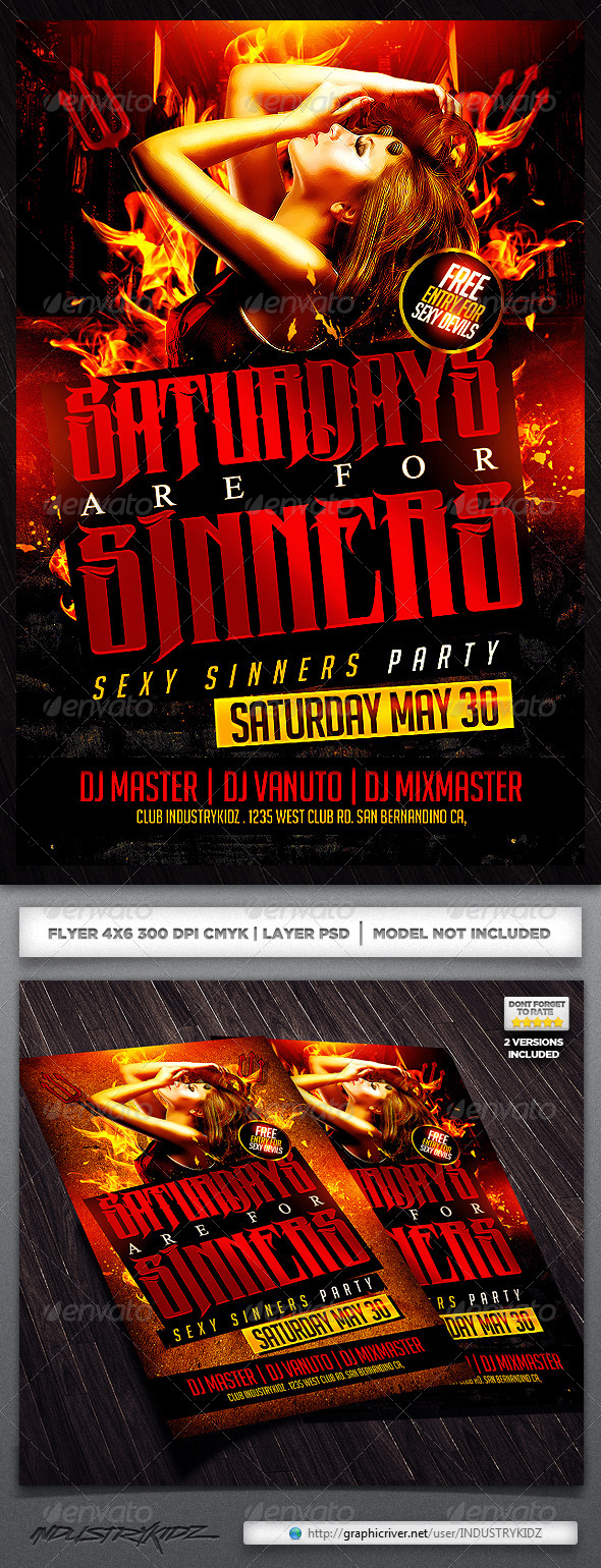 Saturdays are For Sin Flyer Template - Clubs & Parties Events
