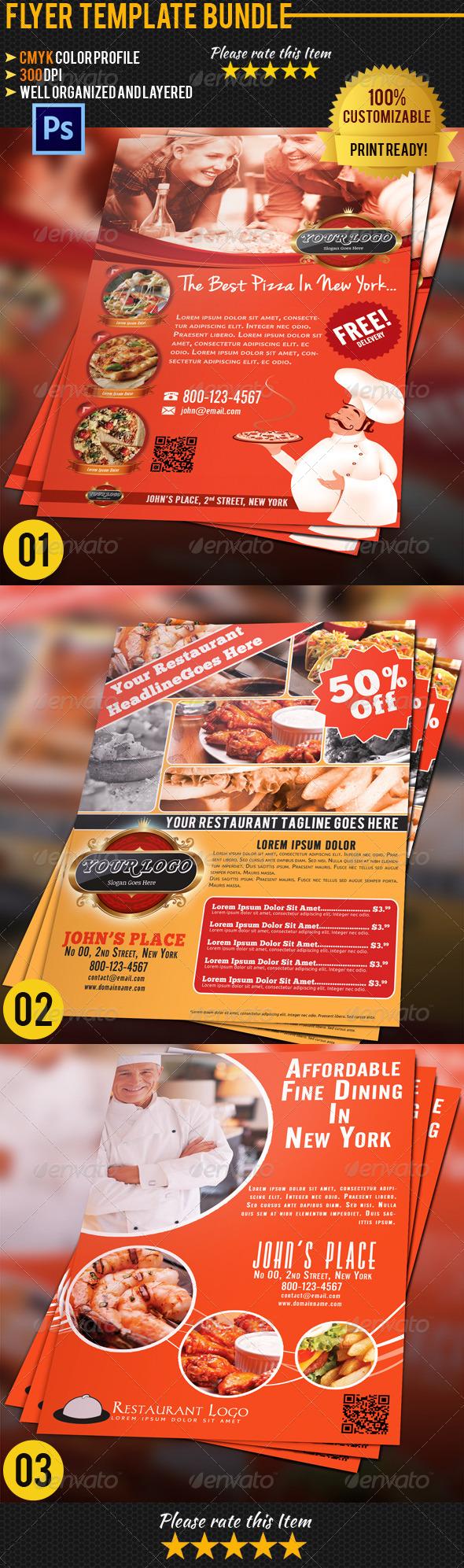 Restaurant Flyer Bundle 01 - Restaurant Flyers