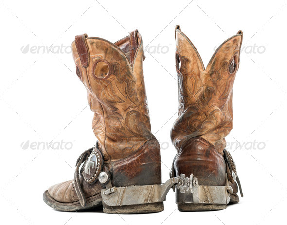 e17b5b3ec29 Rear view of a Pair of cowboy boots, isolated on white background