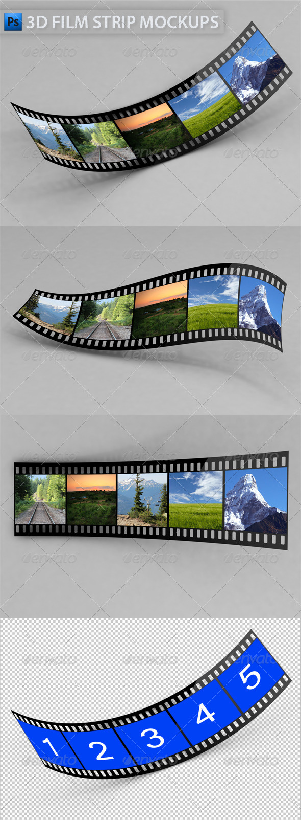 3D Film Strip Mock-Ups - Miscellaneous Photo Templates