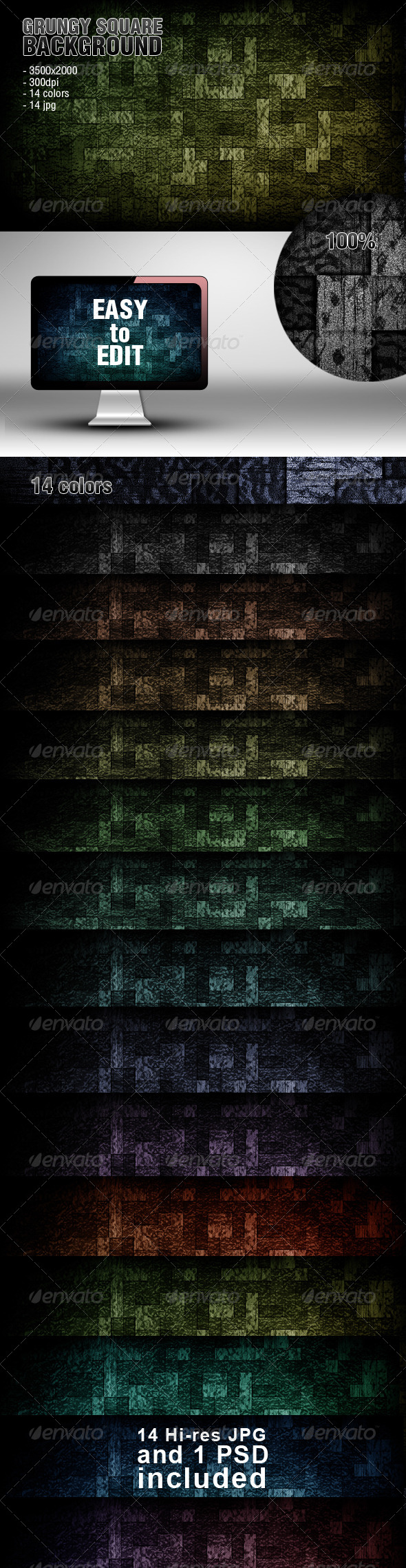 Grungy Square Backgrounds - Abstract Backgrounds