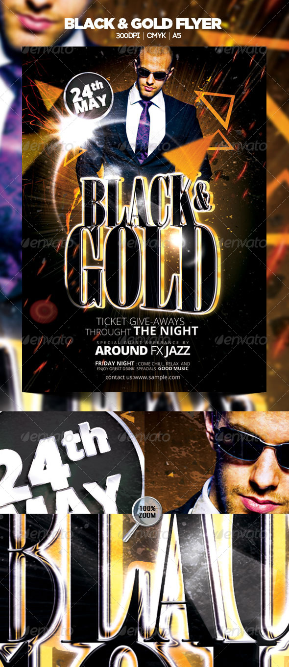 Black & Gold Flyer - Clubs & Parties Events