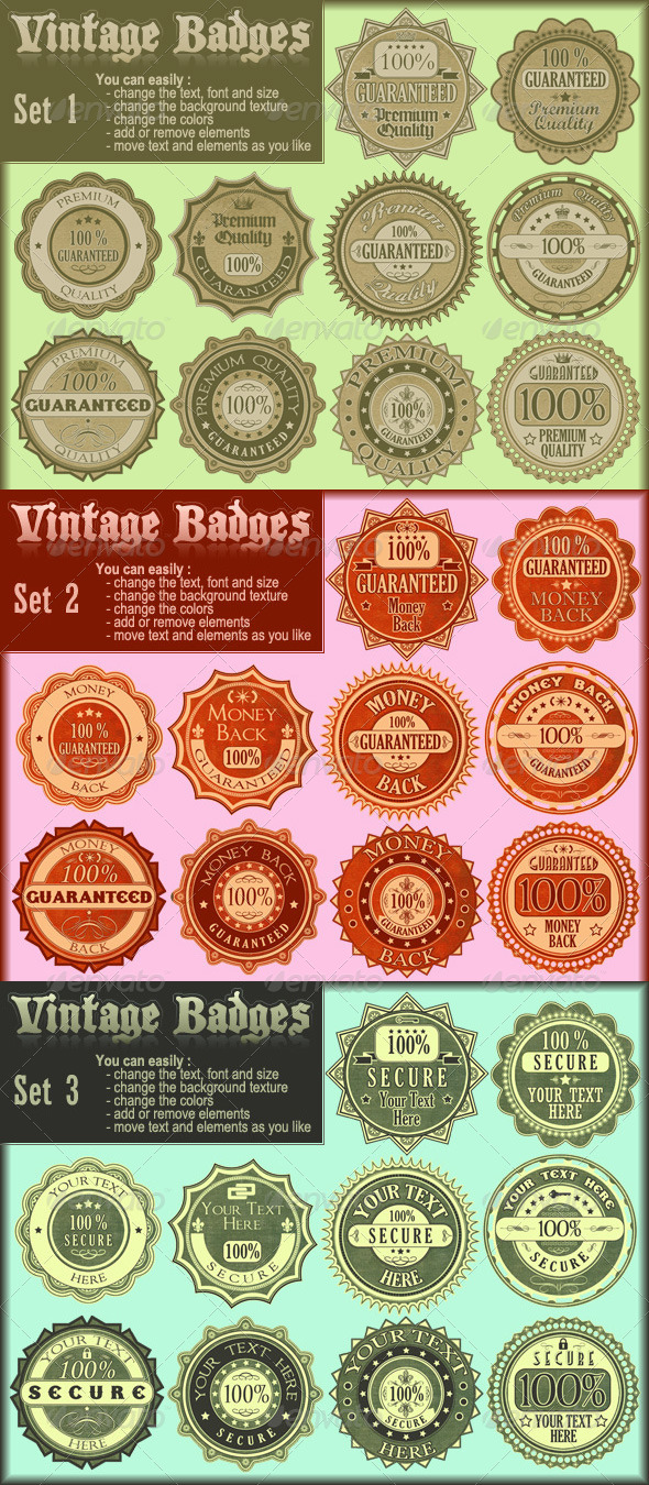 Vintage Badges Collection - Badges & Stickers Web Elements