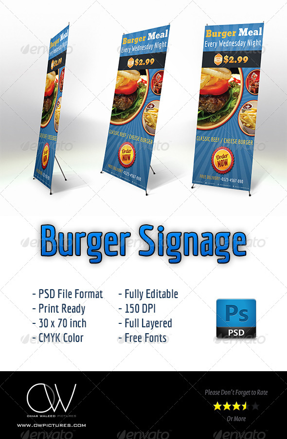 Burger Restaurant Signage - Signage Print Templates
