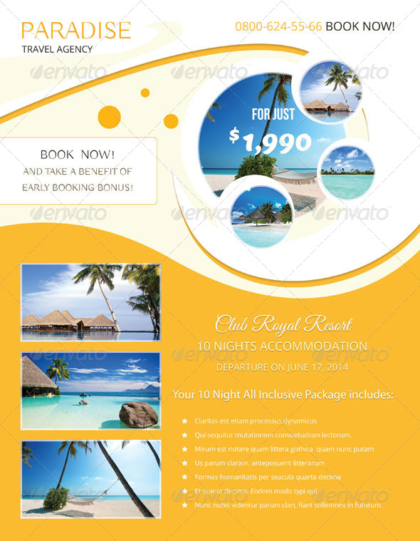 Paradise Travel Flyer Template By Miciana1417 Graphicriver