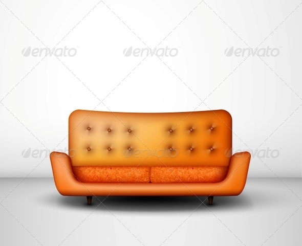 Orange Sofa - Man-made Objects Objects