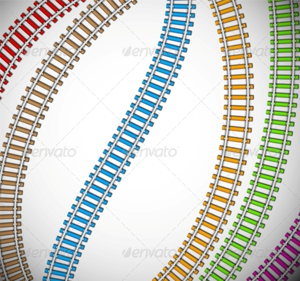 Background with Colorful Rails - Travel Conceptual