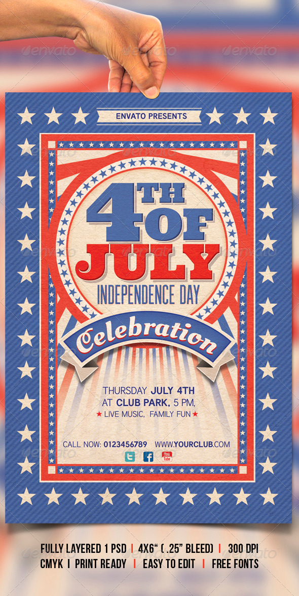 4th of july by creativeartx graphicriver for 4th of july menu template