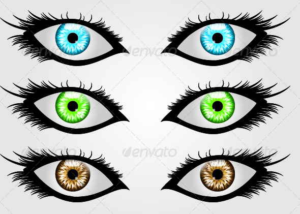 Three Sets of Eyes In Different Colors - Miscellaneous Vectors