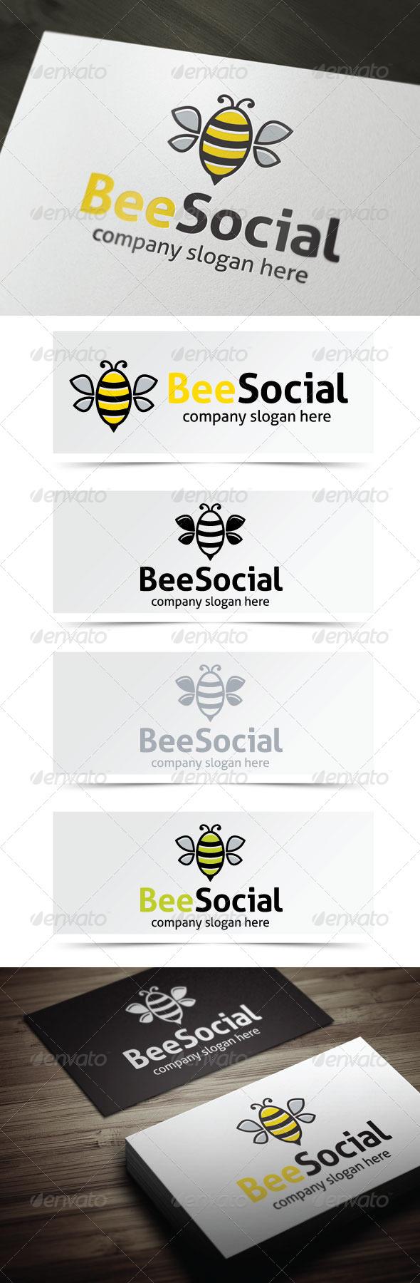 Bee Social - Animals Logo Templates