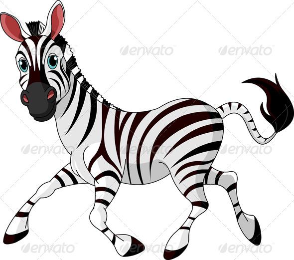 Funny Running Zebra - Animals Characters