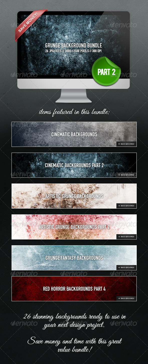 Grunge Background Bundle - Part 2 - Abstract Backgrounds