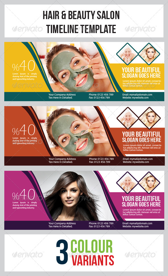 Hair & Beauty Salon  Timeline Template - Facebook Timeline Covers Social Media