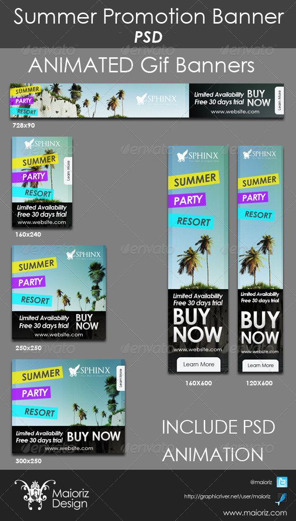 Summer Promote Banners - Banners & Ads Web Elements