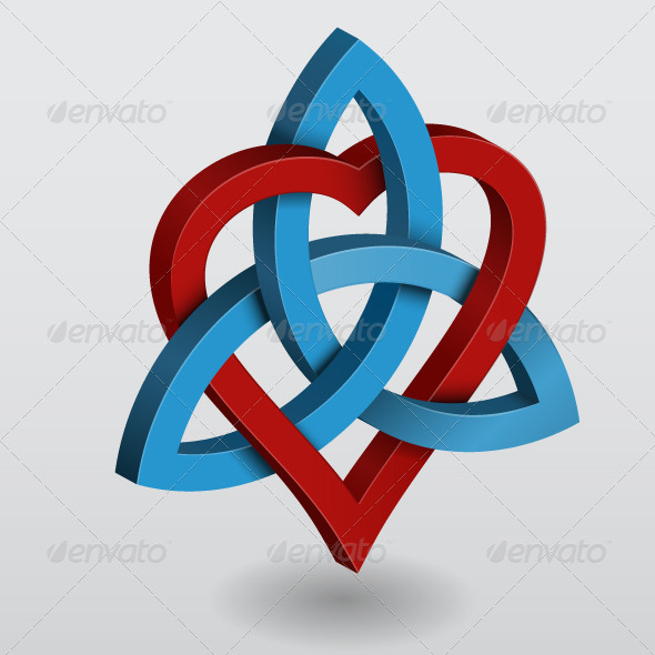 Illustration of Celtic Knot Triquetra with Heart - Abstract Conceptual